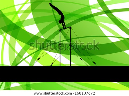 Gymnastics bar silhouette athlete vector abstract background concept template