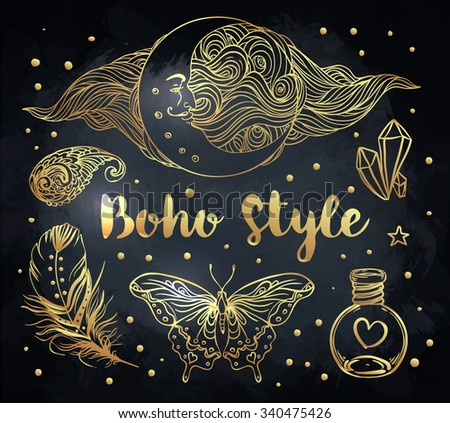 Gypsy Love: Set of Ornamental Boho Style Elements. Vector illustration. Gold tattoo template. Trendy hand drawn tribal symbol collection. Hippie design gold elements over black. - stock vector