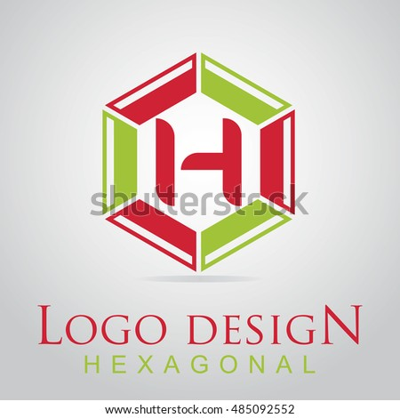 H letter in the hexagonal logo. Vector template design elements for your application, websites and business  identity.