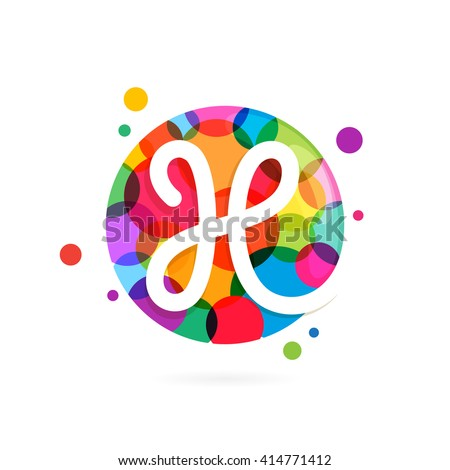 H letter logo in circle with rainbow dots. Font style, vector design template elements for your application or corporate identity. - stock vector