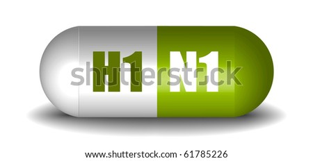 H1N1 Capsule Pill - stock vector