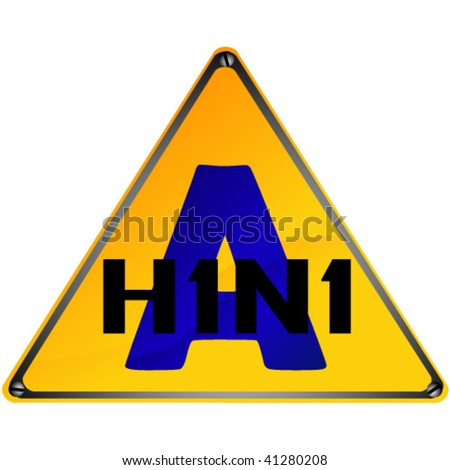 H1N1 swine flu sign, isolated on white background.