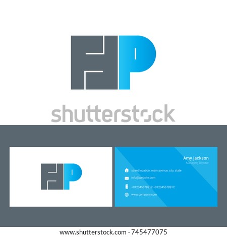 H p bold letter design vector stock vector 745477075 shutterstock h p bold letter design vector with business card template reheart Image collections