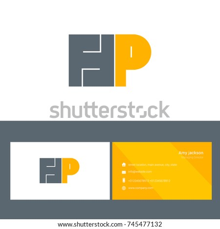 H p bold letter design vector stock vector 745477132 shutterstock h p bold letter design vector with business card template reheart Image collections