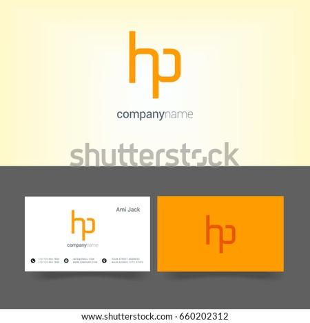 H p joint logo letter design stock vector 2018 660202312 h p joint logo letter design with business card template reheart Images
