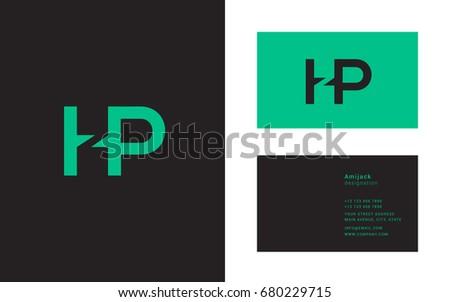 H P Joint Logo Letter Design Stock Vector Shutterstock - Hp business card template