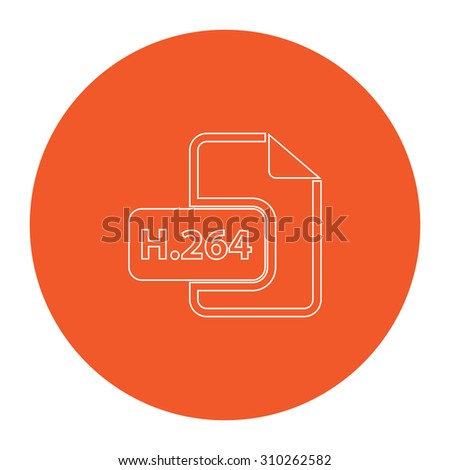 H264 video file extension. Flat outline white pictogram in the orange circle. Vector illustration icon - stock vector