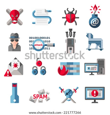 Hacker activity computer and e-mail spam viruses icons set isolated vector illustration - stock vector