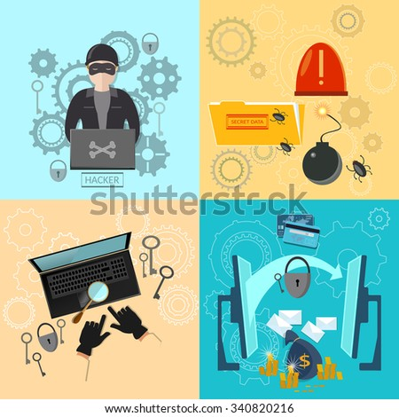 Hacker activity computer bank account hacking and e-mail spam viruses password cracking flat icons set  - stock vector