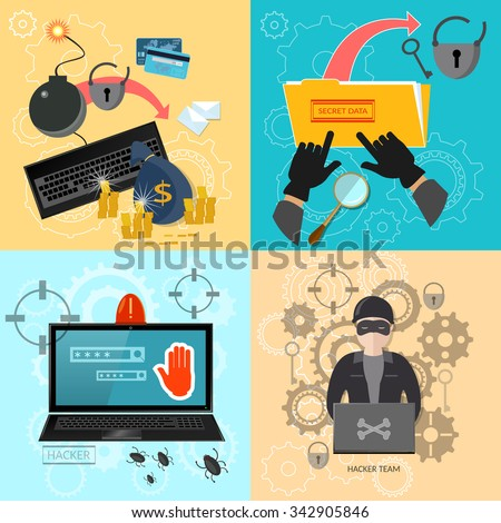 Hacker activity computer password theft mailing virus bank account hacking flat  set - stock vector
