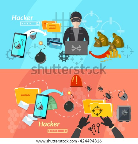 Hacker banners computer hacker virus attacks mobile phone  theft stealing passwords hacks into account phone vector illustration - stock vector