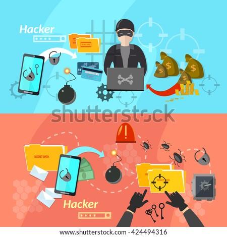 Hacker banners computer virus attacks mobile phone hacking password theft vector illustration - stock vector
