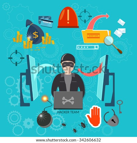Hacker concept hacking account stealing passwords viruses and spam surveillance and phishing - stock vector