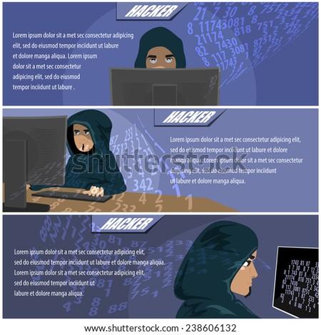 Hacker Flyer Template - Vector Illustration, Graphic Design, Editable For Your Design - stock vector