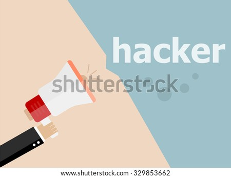 Hacker. Hand holding a megaphone. Vector illustration a flat style - stock vector