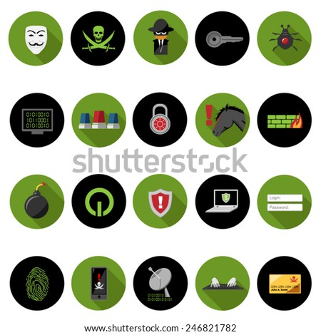 Hacker icons set in flat design with long shadow. Illustration eps10 - stock vector