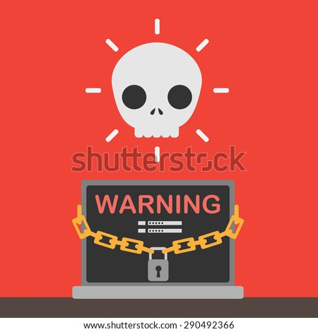 Hacker, identity theft and computer crime with white skull. - stock vector