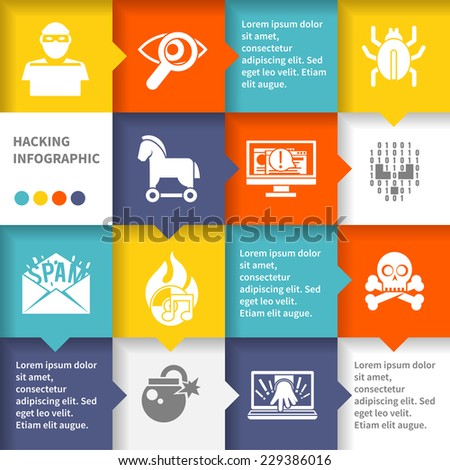 Hacker infographic set with virus cyber protection and safety vector illustration - stock vector