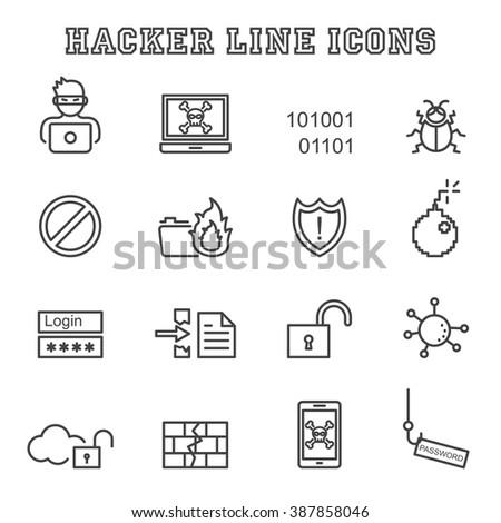 hacker line icons, mono vector symbols - stock vector