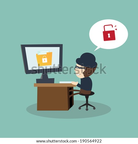 Hacker open file secret unsecured with threat of hacking - Internet security concept - stock vector