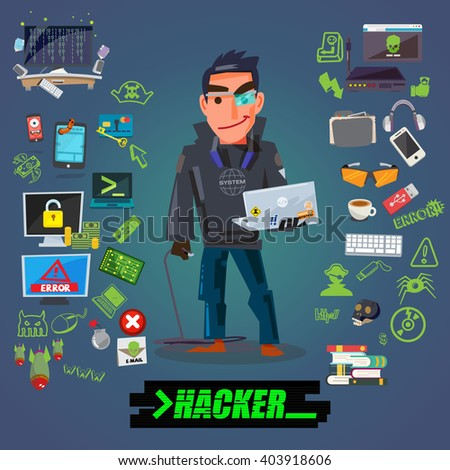 Hacker or programmer character design with icon set come with typographic for header design - vector illustration - stock vector