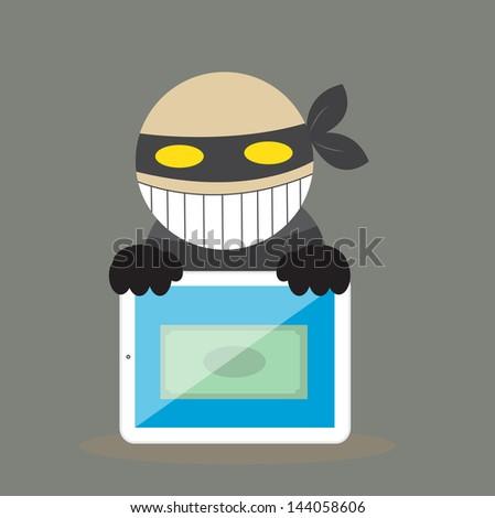 Hacker steal money from tablet. vector. eps10 - stock vector