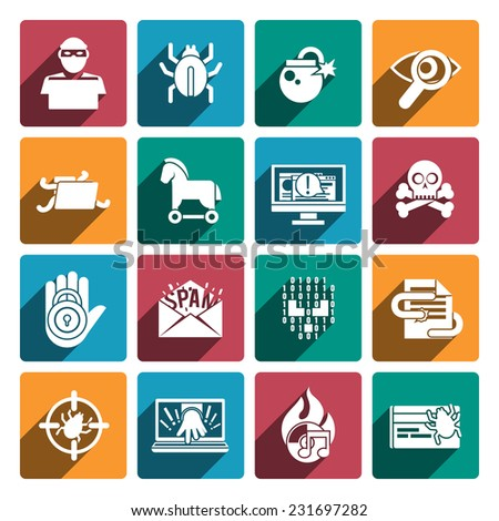 Hacker white flat icons set with spy technologies computer danger and protection isolated vector illustration - stock vector