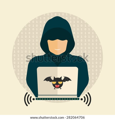 Hacker, wireless network, hacking - isolated flat vector illustration. - stock vector