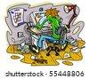 hacker working on computer in jumble room vector illustration - stock vector