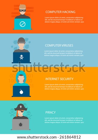 Hackers activity horizontal banners  set, vector illustration in flat design style. Computer hacking, internet security concept. - stock vector