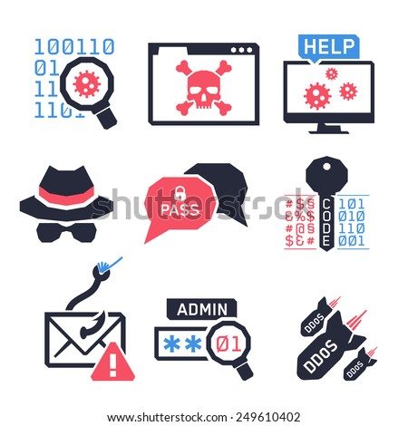 Hacking icons set 02 // Colors - stock vector