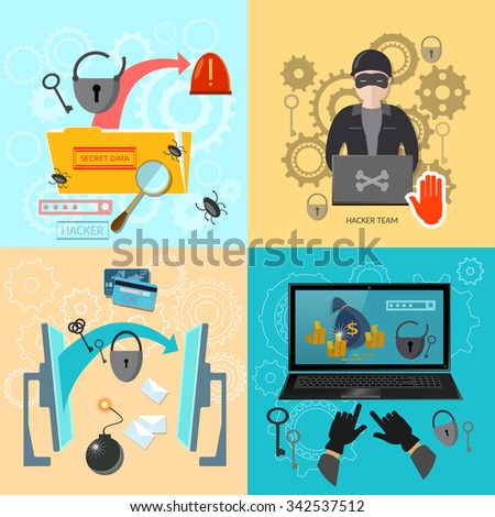 Hacking: password guessing stealing bank account mailing viruses data theft and snooping infecting files set - stock vector