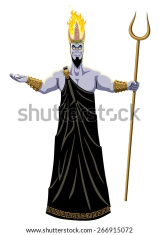 Hades, lord of the Underworld, on white background. No transparency and gradients used. - stock vector