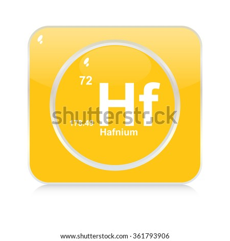 hafnium chemical element button - stock vector