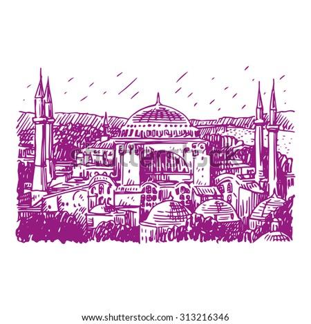 Hagia Sophia, Istanbul, Turkey. Vector freehand pencil sketch. - stock vector