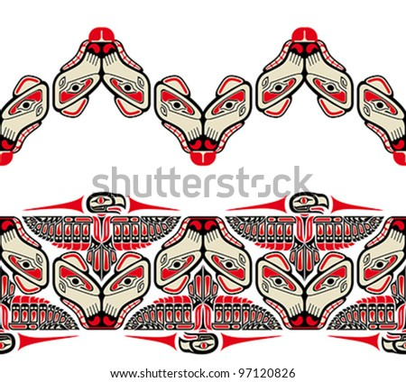 Haida style seamless patterns created with animal images. Vector illustration fit for tattoo. - stock vector