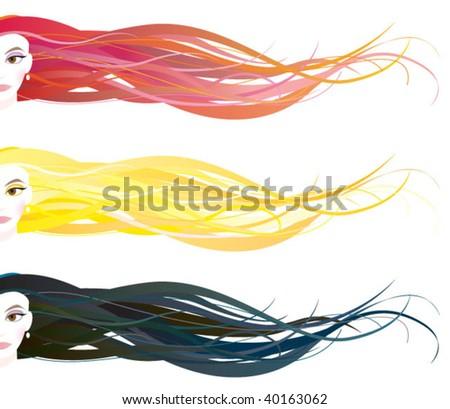 hair banner - stock vector
