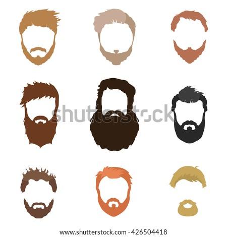Hair Beard And Face Mask Cutout Cartoon Flat Collection Vector Mens