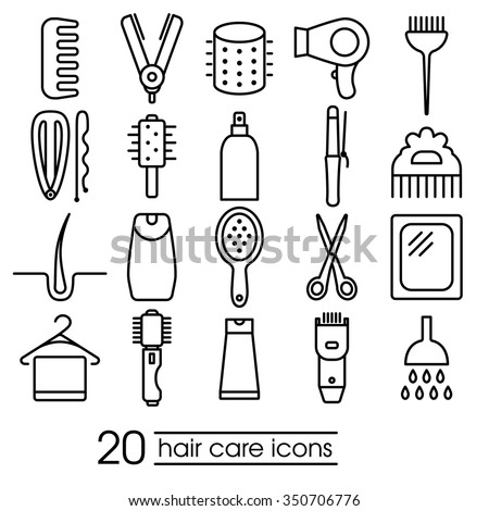 hair care icons collection - stock vector
