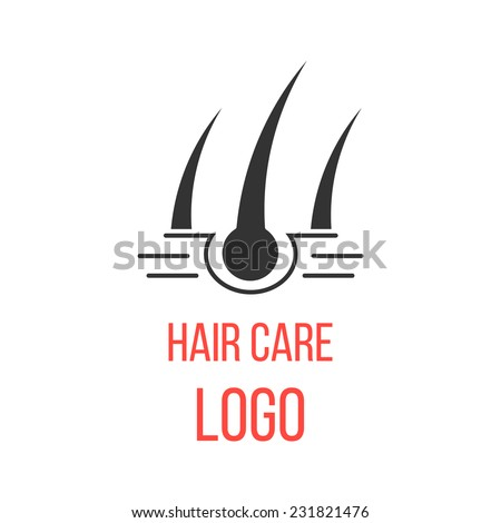 hair care logo isolated on white background. concept of scalp care or haircare, cosmetics and healthy lifestyle. modern vector illustration - stock vector