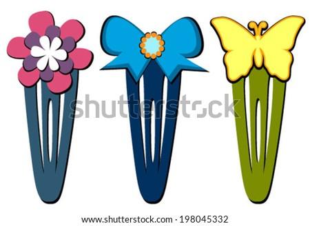 hair clips flower, bow, butterfly - stock vector