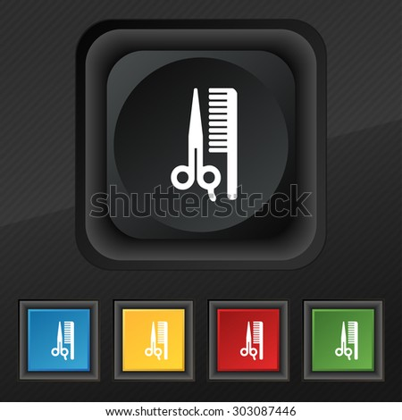 hair icon symbol. Set of five colorful, stylish buttons on black texture for your design. Vector illustration - stock vector