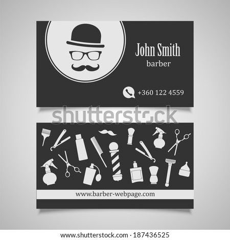 Hair salon barber business card design stock photo photo vector hair salon barber business card design template wajeb Image collections