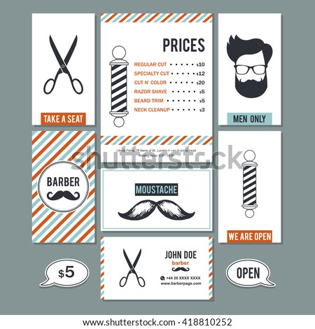 Hair salon barber shop vintage sign stock vector 418810252 hair salon barber shop vintage sign and services prices design business cards template color set reheart Image collections