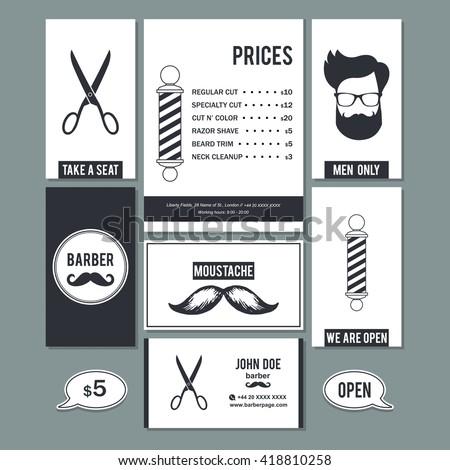 Hair Salon Barber Shop Vintage Sign Stock Vector - Barber shop business card templates