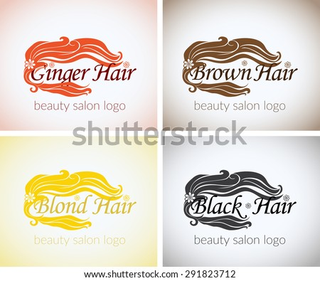 Hair salon Company identity vector logo design mock up template set. abstract concept blond brown black and ginger colors, beauty studio logotype stylized - stock vector
