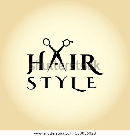 Hair Salon Logo With Scissors Vector Design Template Illustration