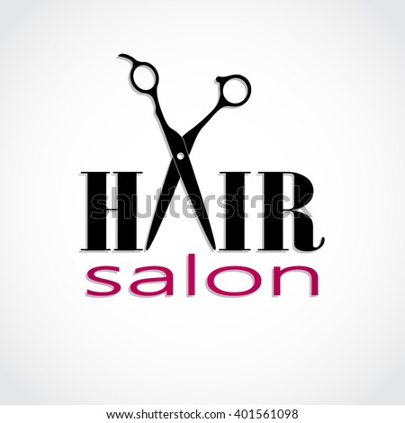 hair salon logo scissors vector illustration stock vector 401561098 rh shutterstock com hair salon logos free hair salon logo design