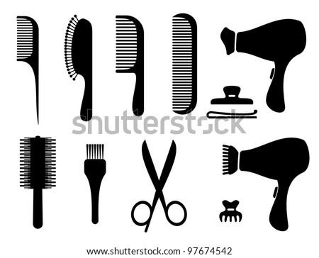 hair salon silhouette icons - stock vector