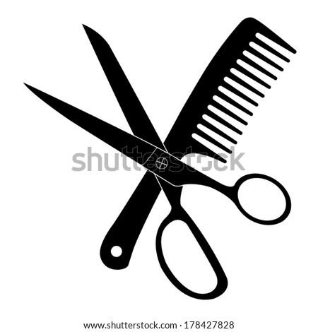 Hair Salon Scissors Comb Vector Icon Stock Vector ...